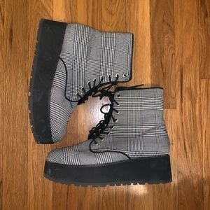 Shoes - Striped platform combat boots